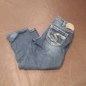 Silver Capri pants aiko jean
